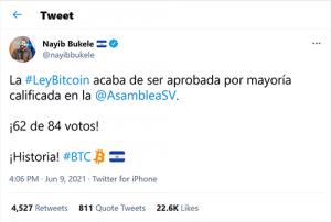 El Salvador adopts Bitcoin as Legal tender 9th June 2021