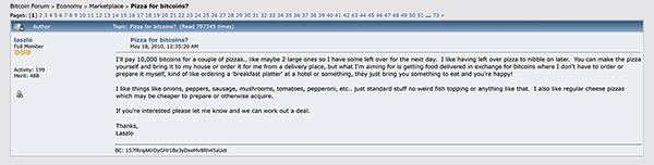 Pizza for Bitcoins - Bitcoin forum post